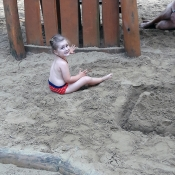 na pískovišti v aquaparku